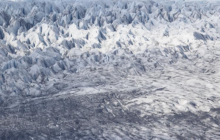 Glacier, lac Jokulsarlon (Islande).